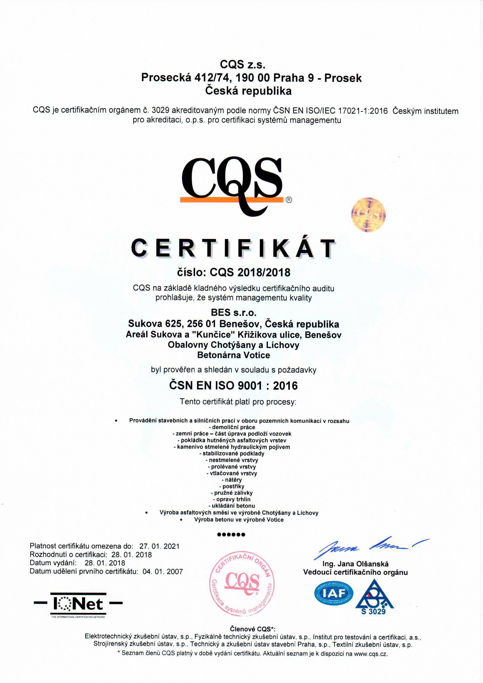 Certifikace certifikačního institutu